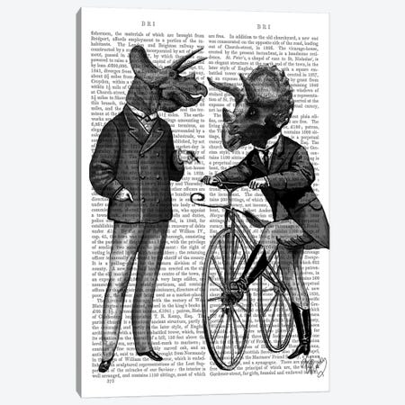 Triceratops Men: What Kind Of Mileage? Canvas Print #FNK1299} by Fab Funky Canvas Wall Art