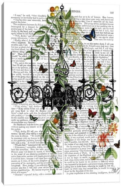 Chandelier With Vines And Butterflies Canvas Art Print