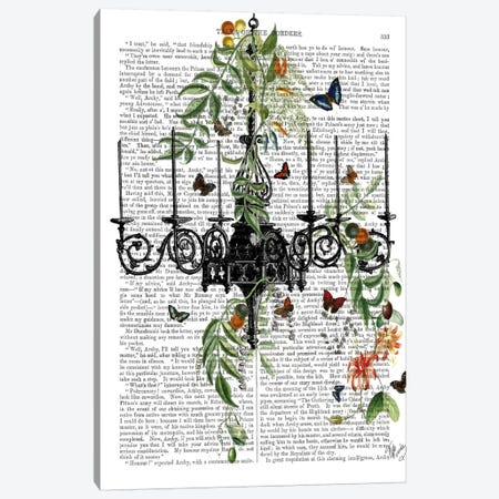 Chandelier With Vines And Butterflies Canvas Print #FNK12} by Fab Funky Canvas Art