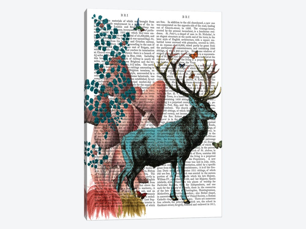Turquoise Deer In Mushroom Forest by Fab Funky 1-piece Canvas Artwork