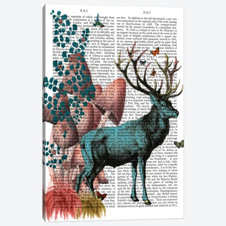 Turquoise Deer In Mushroom Forest Canvas Print #FNK1301} by Fab Funky Canvas Artwork