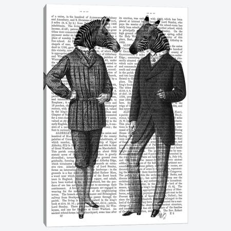 Two Zebra Gentlemen Canvas Print #FNK1306} by Fab Funky Canvas Print