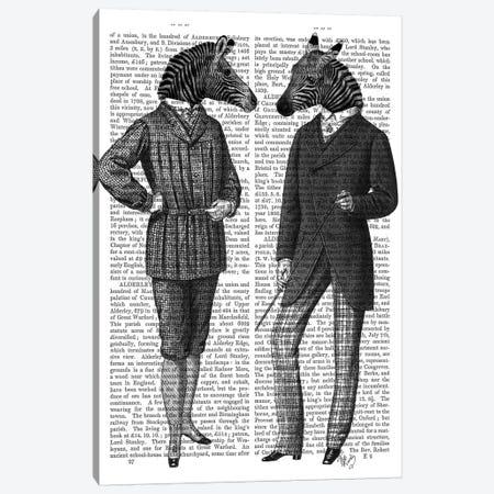 Two Zebra Gentlemen Canvas Print #FNK1306} by Fab Funky Canvas Print