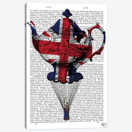 Union Jack Flying Teapot Canvas Print #FNK1307} by Fab Funky Canvas Print