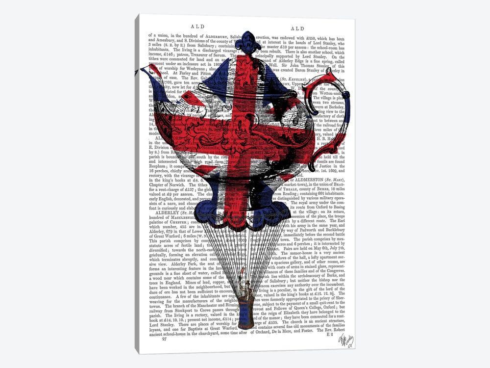 Union Jack Flying Teapot by Fab Funky 1-piece Canvas Artwork