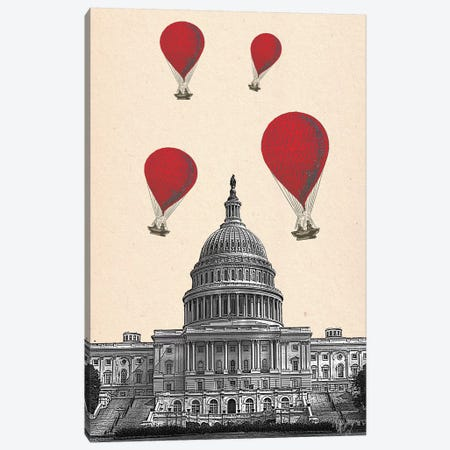 US Capitol Building & Red Hot Air Balloons Canvas Print #FNK1308} by Fab Funky Canvas Art