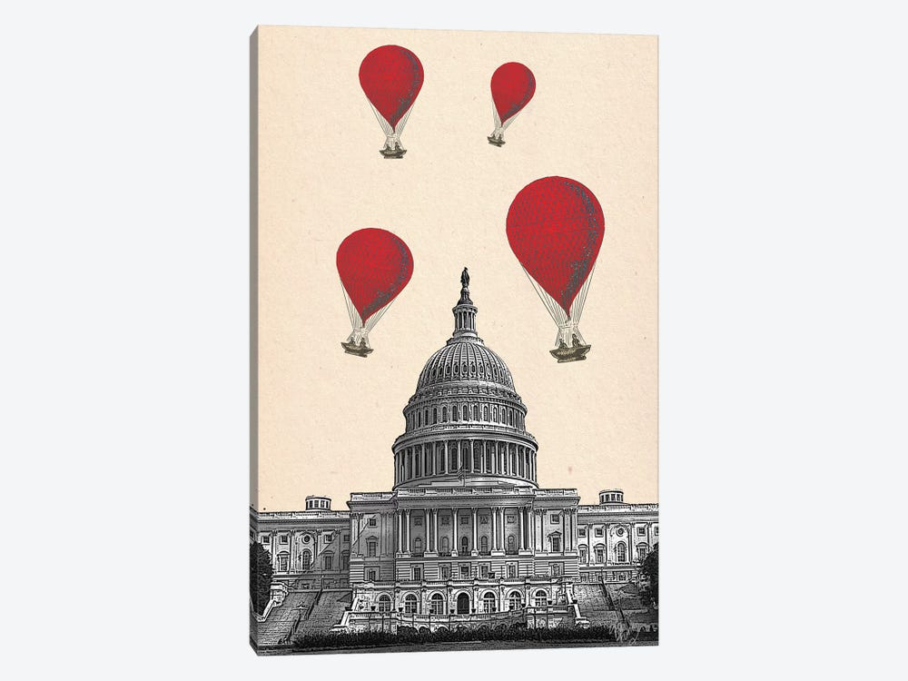 US Capitol Building & Red Hot Air Balloons by Fab Funky 1-piece Canvas Print