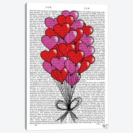 Valentine Heart Balloon Illustration Canvas Print #FNK1309} by Fab Funky Canvas Art