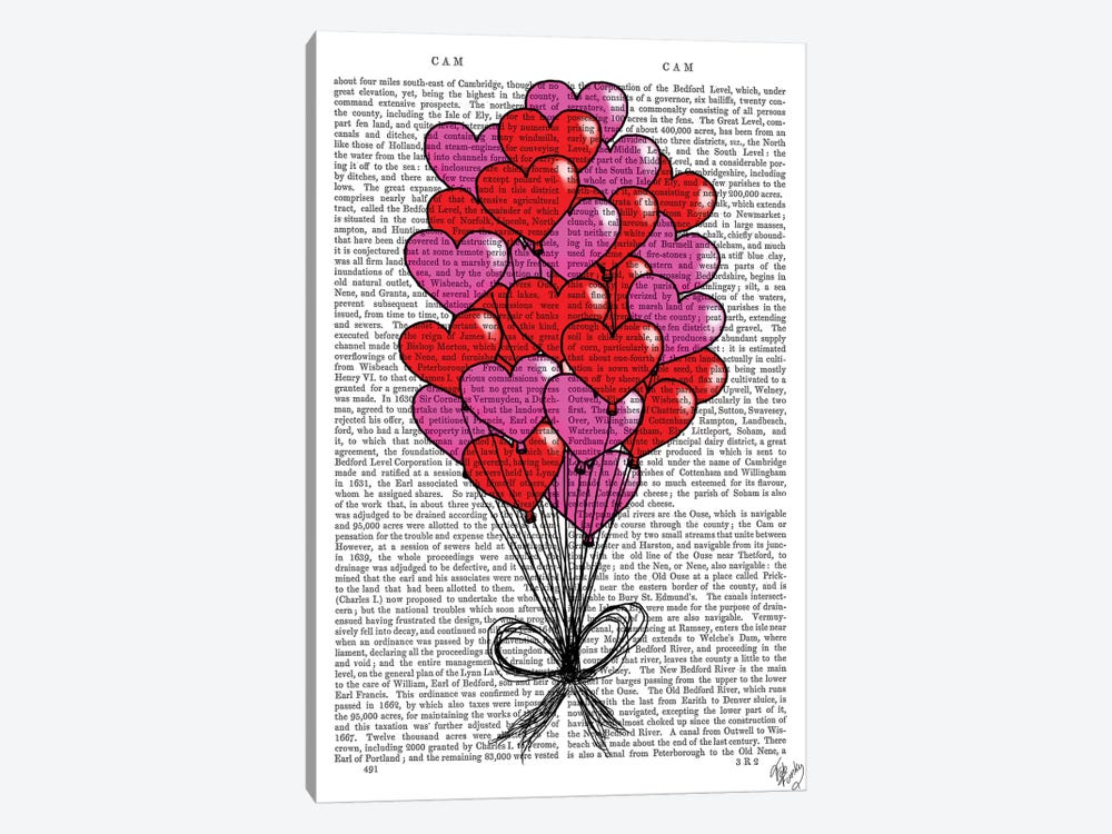 Valentine Heart Balloon Illustration 1-piece Canvas Artwork
