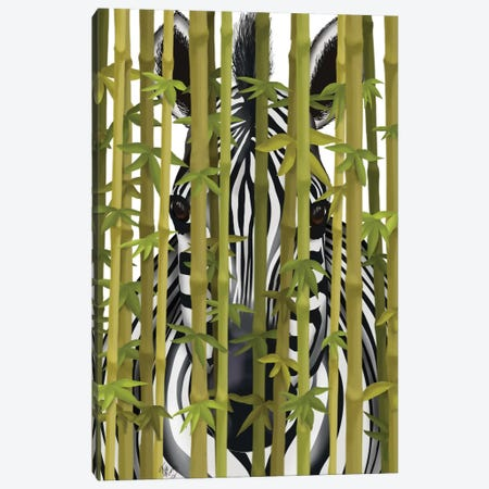 Bamboo Zebra Canvas Print #FNK130} by Fab Funky Canvas Artwork