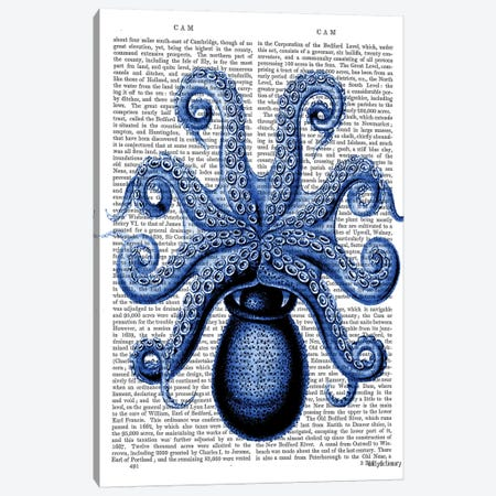 Vintage Blue Octopus, Underside Canvas Print #FNK1311} by Fab Funky Canvas Print