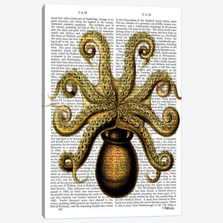 Vintage Yellow Octopus, Underside Canvas Print #FNK1313} by Fab Funky Canvas Art Print