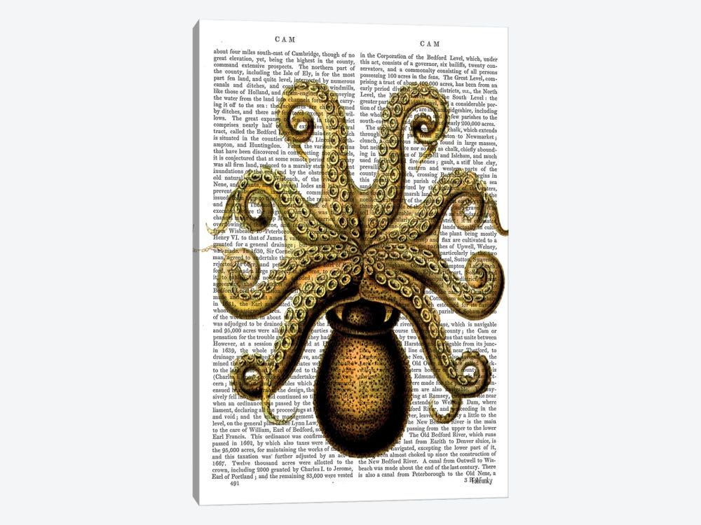 Vintage Yellow Octopus, Underside by Fab Funky 1-piece Canvas Art Print