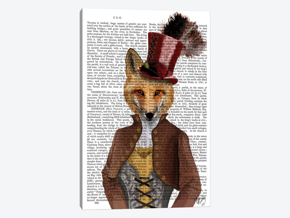 Vivienne Steampunk Fox by Fab Funky 1-piece Canvas Artwork