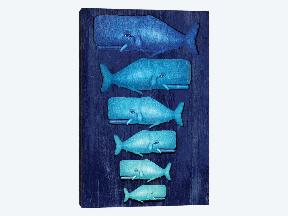 Whale Family Blue On Blue by Fab Funky 1-piece Canvas Wall Art