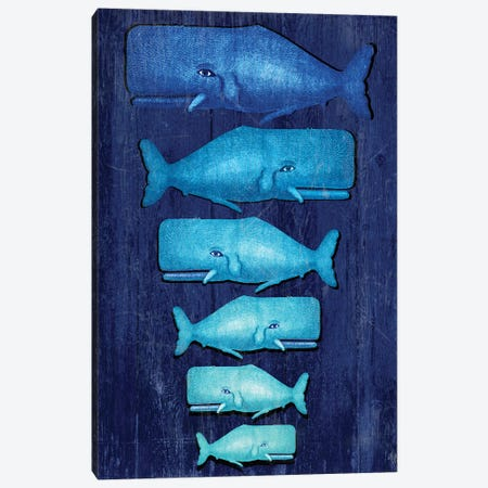 Whale Family Blue On Blue Canvas Print #FNK1316} by Fab Funky Canvas Artwork