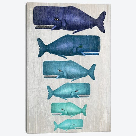 Whale Family Blue On White Canvas Print #FNK1317} by Fab Funky Canvas Artwork