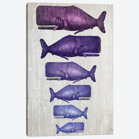 Whale Family Purple On White Canvas Print #FNK1318} by Fab Funky Art Print