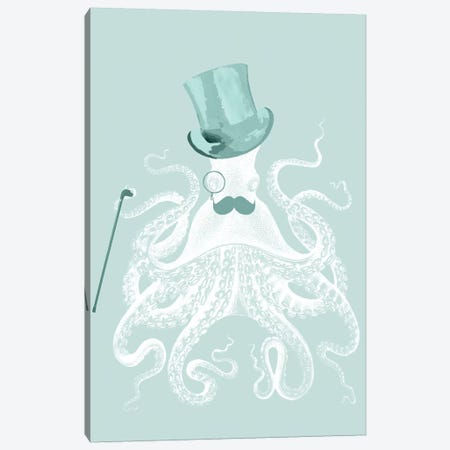 White Octopus On Seafoam Canvas Print #FNK1320} by Fab Funky Canvas Artwork