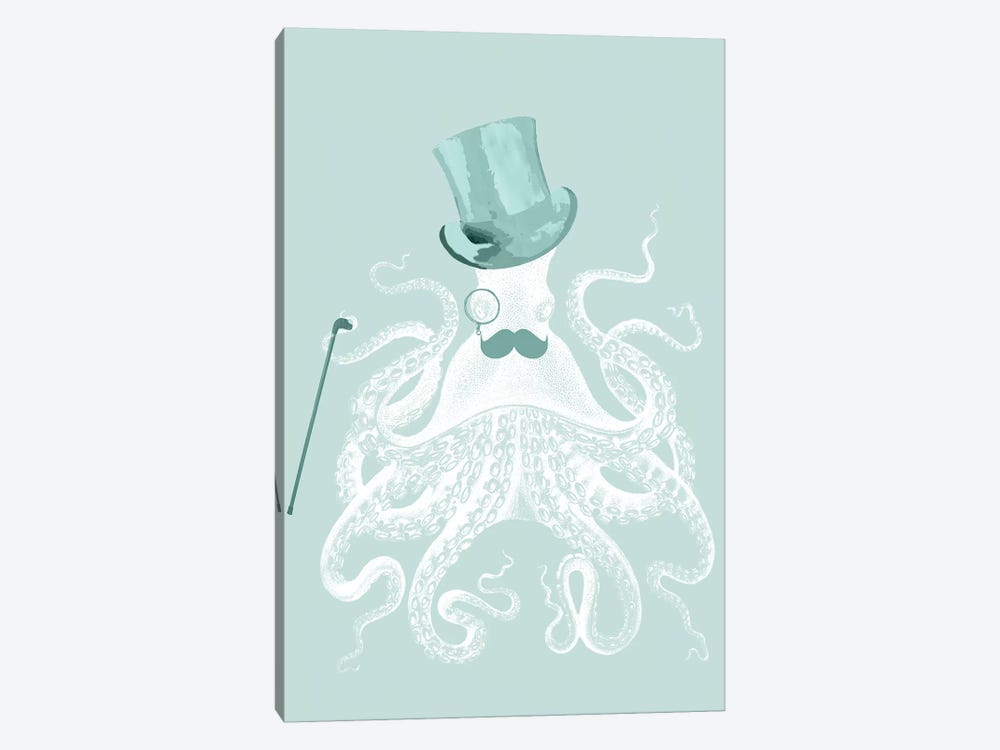 White Octopus On Seafoam by Fab Funky 1-piece Canvas Print