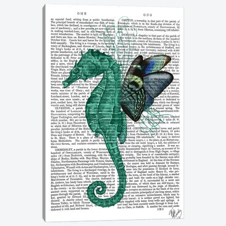 Winged Seahorse Canvas Print #FNK1323} by Fab Funky Canvas Art