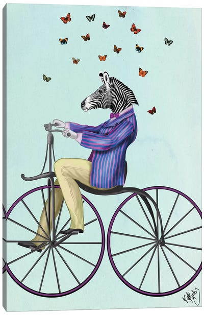 Zebra On Bicycle Canvas Art Print