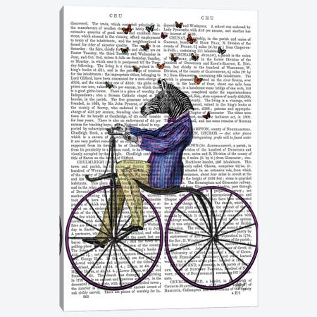 Zebra On Bicycle, Print BG Canvas Print #FNK1326} by Fab Funky Canvas Print