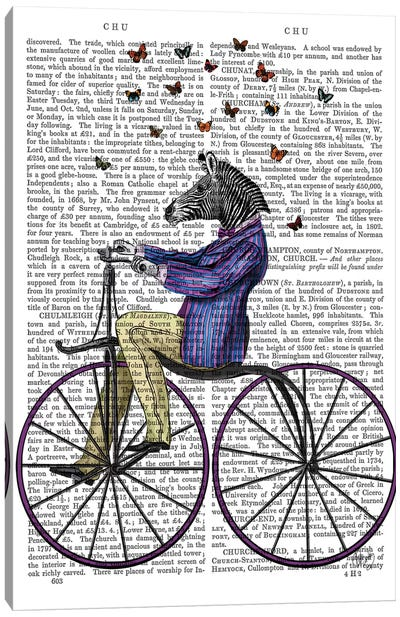 Zebra On Bicycle, Print BG Canvas Art Print