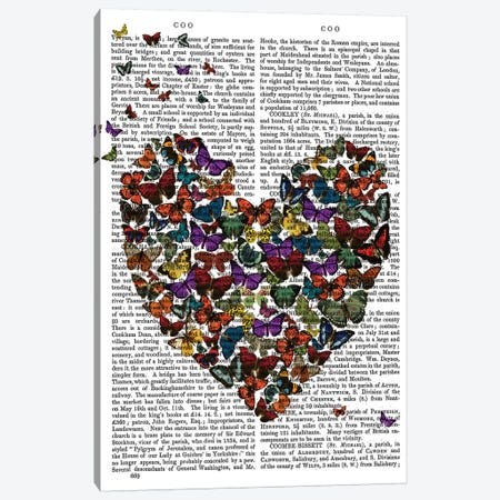Butterfly Heart Canvas Print #FNK1329} by Fab Funky Canvas Wall Art