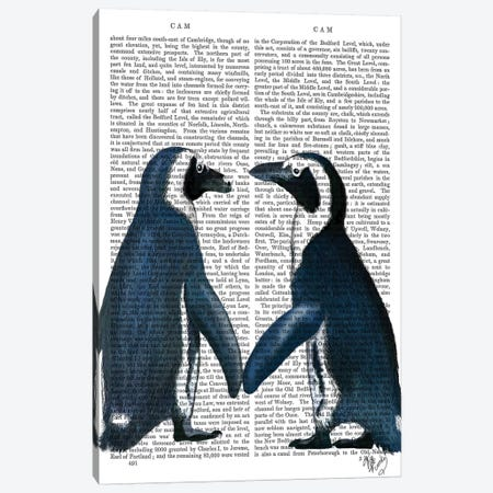 Penguins In Love Canvas Print #FNK1337} by Fab Funky Canvas Wall Art