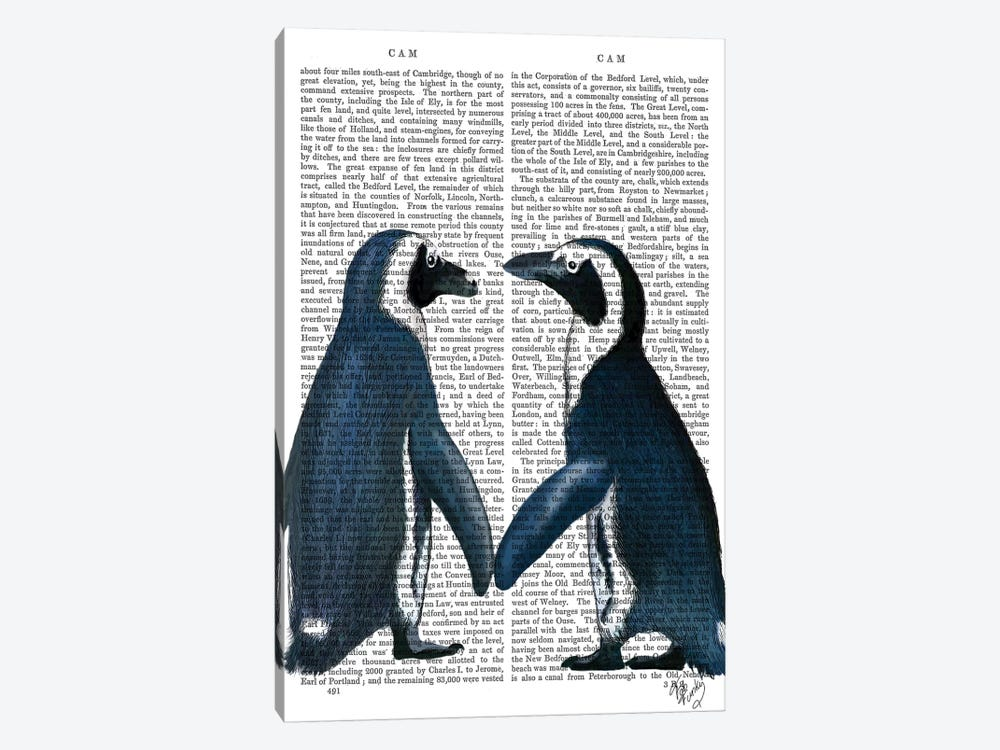 Penguins In Love by Fab Funky 1-piece Canvas Print