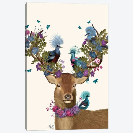 Deer Birdkeeper, Blue Pigeons Canvas Print #FNK1356} by Fab Funky Canvas Art