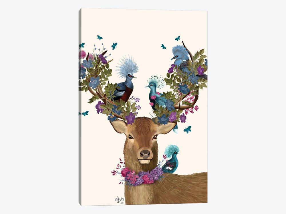 Deer Birdkeeper, Blue Pigeons by Fab Funky 1-piece Canvas Wall Art