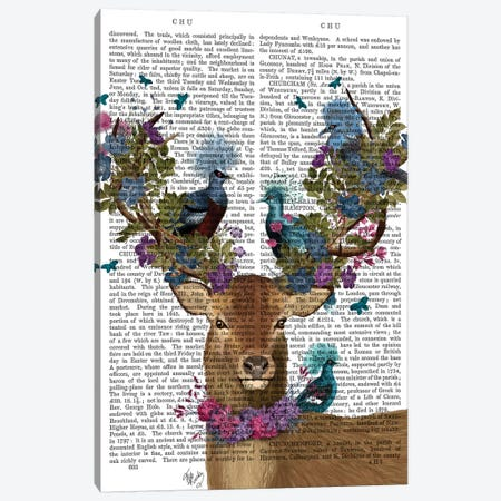 Deer Birdkeeper, Blue Pigeons, With Text Canvas Print #FNK1357} by Fab Funky Canvas Art