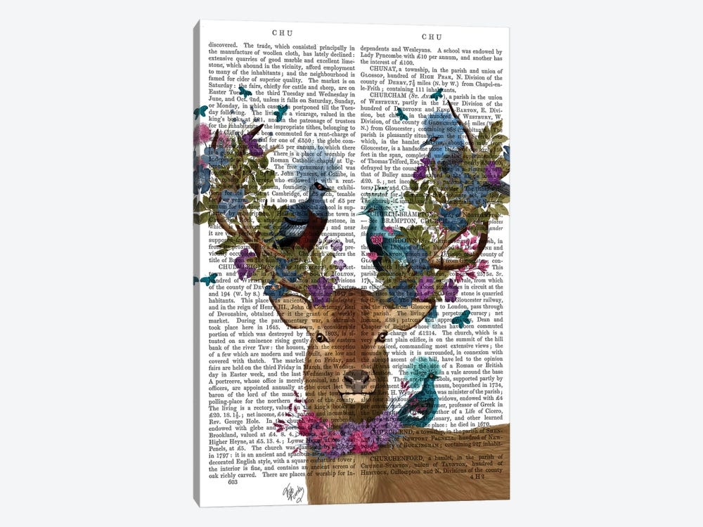 Deer Birdkeeper, Blue Pigeons, With Text by Fab Funky 1-piece Art Print