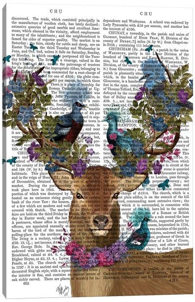 Deer Birdkeeper, Blue Pigeons, With Text Canvas Art Print