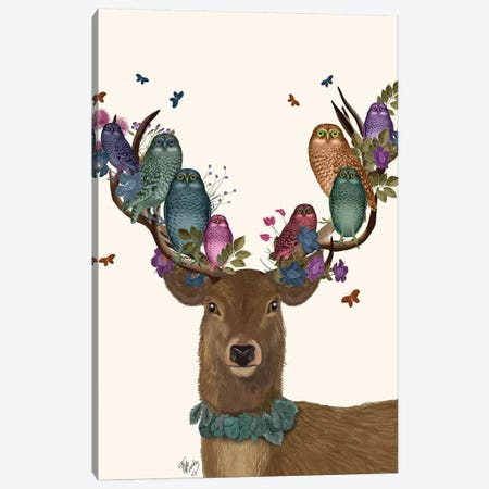 Deer Birdkeeper, Owls Canvas Print #FNK1358} by Fab Funky Art Print