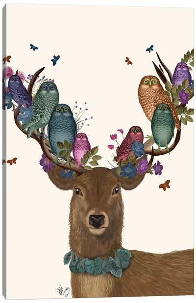 Deer Birdkeeper, Owls Canvas Art Print
