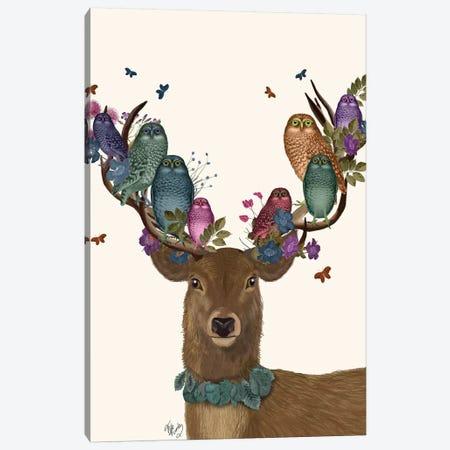 Deer Birdkeeper, Owls Canvas Print #FNK1358} by Fab Funky Art Print