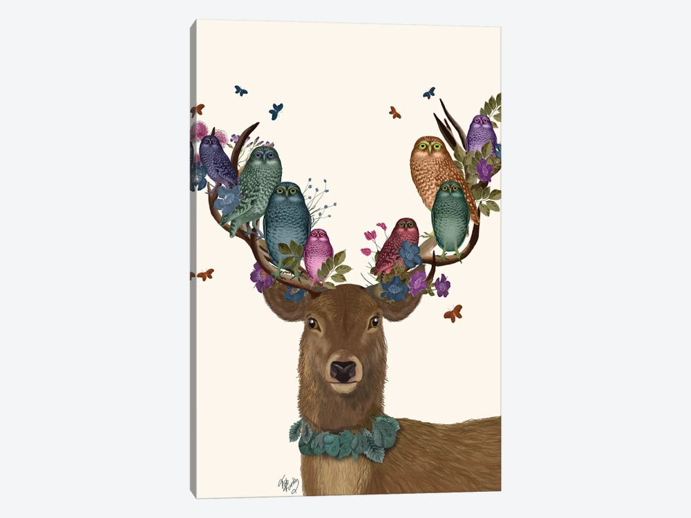 Deer Birdkeeper, Owls by Fab Funky 1-piece Canvas Wall Art