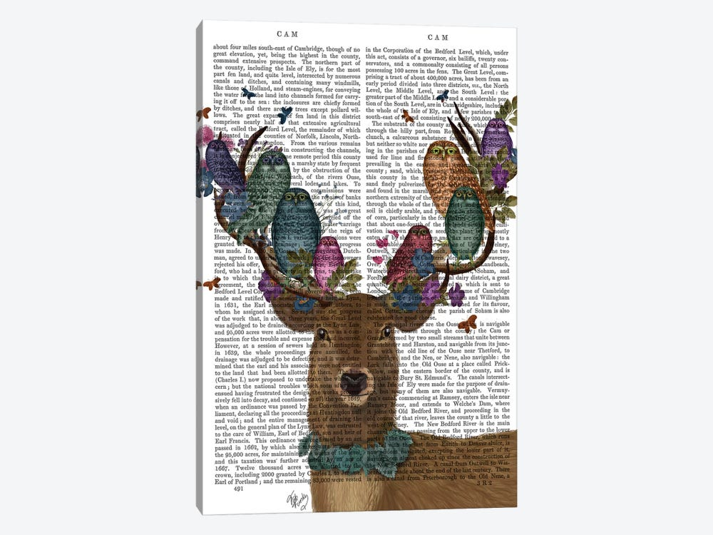 Deer Birdkeeper, Owls, With Text by Fab Funky 1-piece Canvas Print