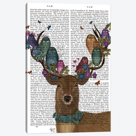Deer Birdkeeper, Owls, With Text Canvas Print #FNK1359} by Fab Funky Canvas Art Print