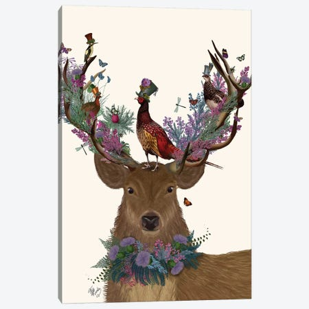 Deer Birdkeeper, Scottish Canvas Print #FNK1360} by Fab Funky Canvas Artwork