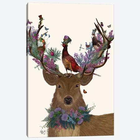 Deer Birdkeeper, Scottish Canvas Print #FNK1360} by Fab Funky Canvas Artwork