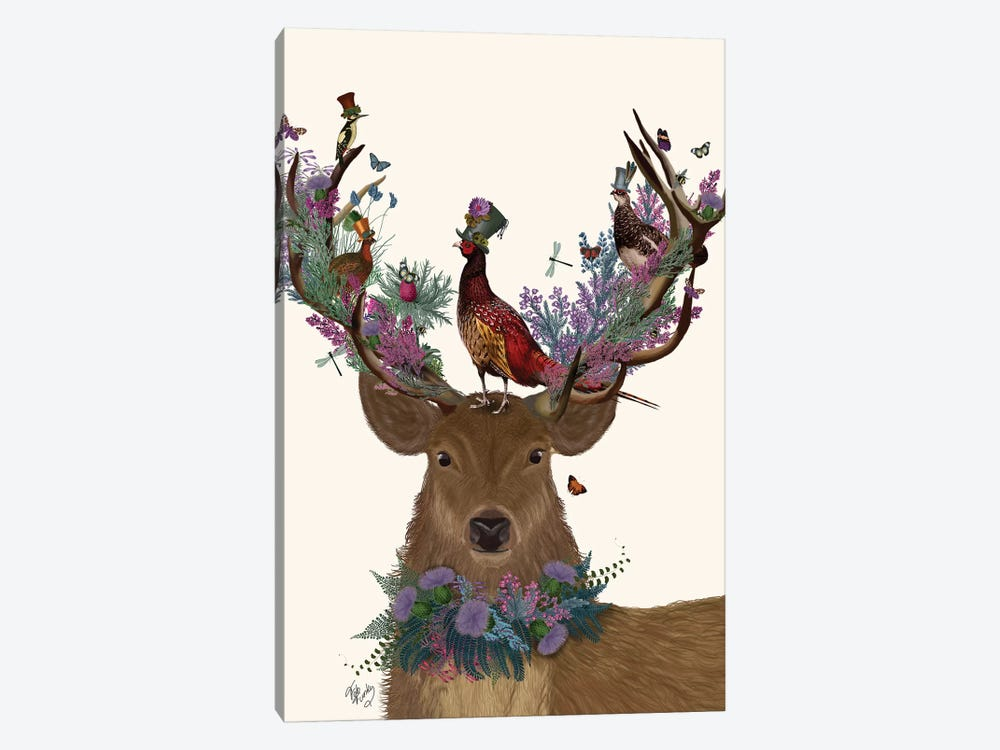 Deer Birdkeeper, Scottish by Fab Funky 1-piece Art Print