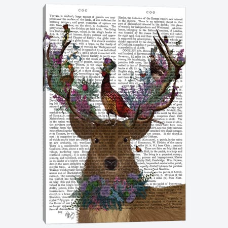 Deer Birdkeeper, Scottish, With Text 3-Piece Canvas #FNK1361} by Fab Funky Canvas Wall Art