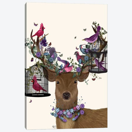 Deer Birdkeeper, Tropical Bird Cages 3-Piece Canvas #FNK1362} by Fab Funky Canvas Art