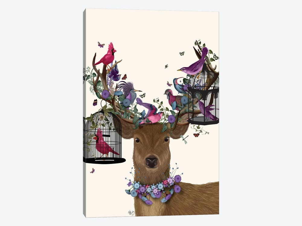 Deer Birdkeeper, Tropical Bird Cages by Fab Funky 1-piece Canvas Print