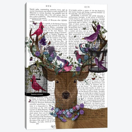 Deer Birdkeeper, Tropical Bird Cages, With Text Canvas Print #FNK1363} by Fab Funky Canvas Artwork