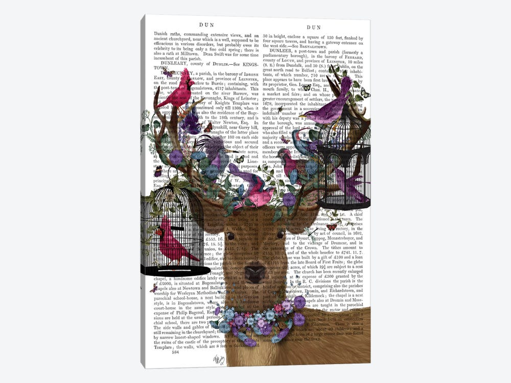Deer Birdkeeper, Tropical Bird Cages, With Text by Fab Funky 1-piece Canvas Artwork